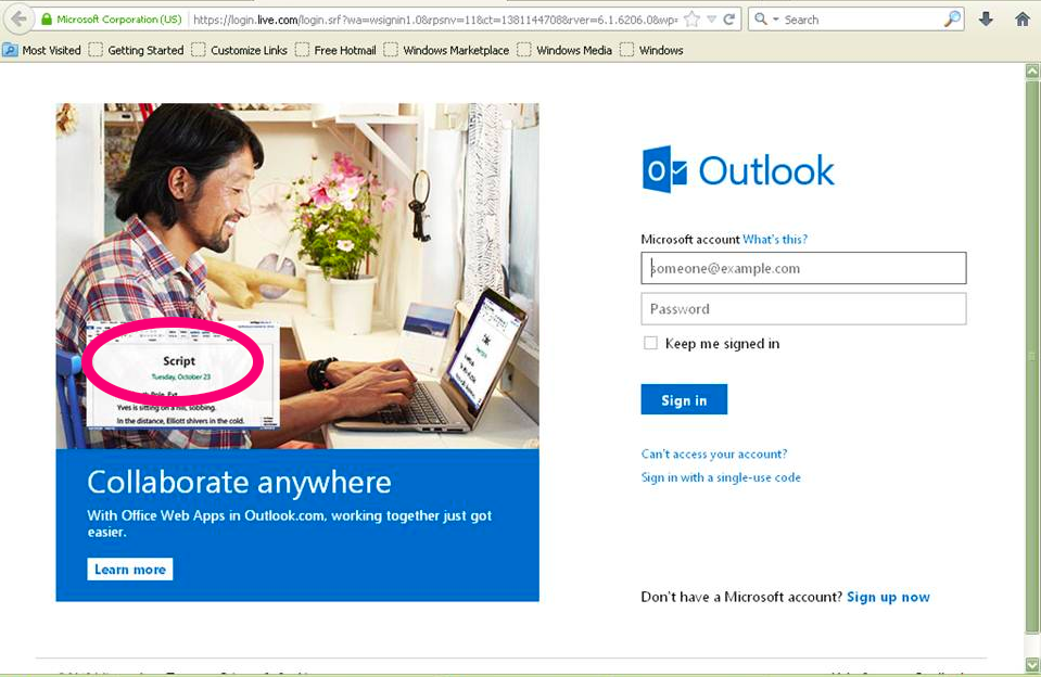 Hotmail Login Page